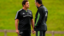 Munster's Eusebio Guinazu in conversation with team manager Niall O'Donovan