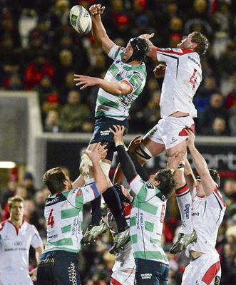 Treviso's Cornelius van Zyl takes the ball in the lineout ahead of Ulster's Johann Muller during their Heineken Cup match at Ravenhill in December. Photo: Oliver McVeigh