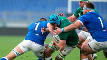 Ireland's Tadhg Beirne is tackled by Italy's Johan Meyer during the Guinness Six Nations match at Stadio Olimpico, Rome