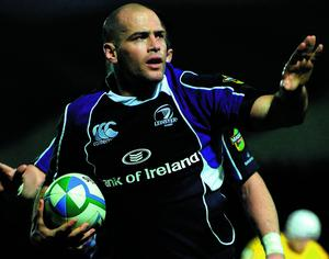18 October 2008; Leinster's Felipe Contepomi celebrates after scoring his side's fourth try. Heineken Cup, Pool 2 Round 2, Leinster v London Wasps, RDS, Dublin. Picture credit: Pat Murphy / SPORTSFILE