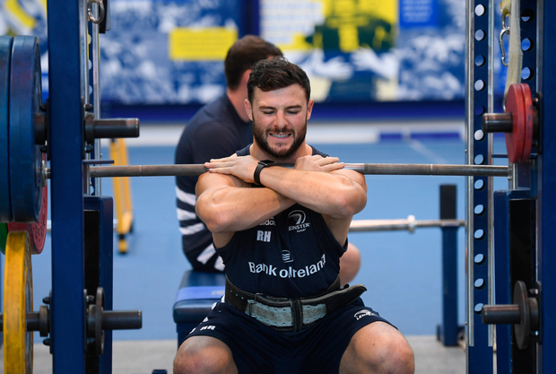 Robbie Henshaw hard at work in a gym session. Photo: Sportsfile