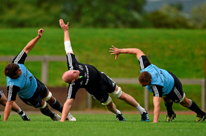Paul O'Connell and his Munster colleagues in training