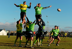 Michael Swift wins possession in a line-out ahead of Quinn Roux during a Connacht squad training session this week