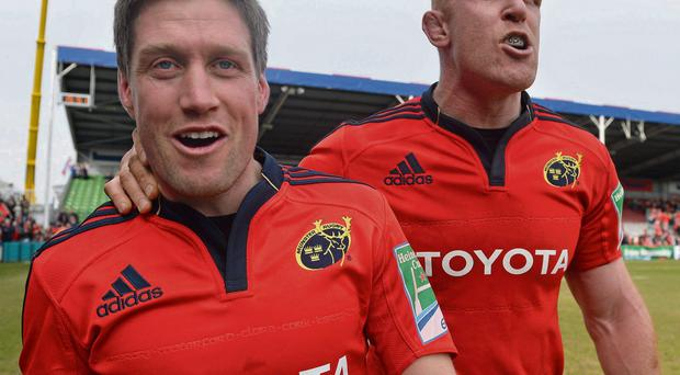 Ronan O'Gara, left, and Paul O'Connell during their Munster days