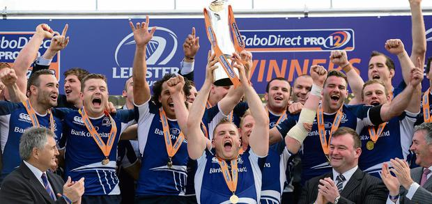 25 May 2013; Leinster's Jamie Heaslip lifts the cup after his sides victory. Celtic League Grand Final, Ulster v Leinster, RDS, Ballsbridge, Dublin. Picture credit: Stephen McCarthy / SPORTSFILE