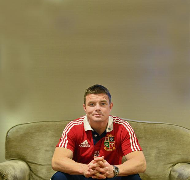 Brian O'Driscoll in London yesterday ahead of the Lions' flight to Hong Kong
