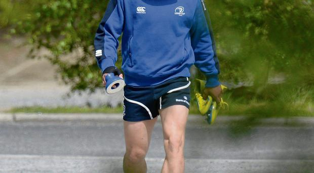 14 May 2013; Leinster's Ian Madigan arrives for squad training ahead of their side's Amlin Challenge Cup Final against Stade Francais on Friday. Leinster Rugby Squad Training and Press Briefing, Rosemount, UCD, Belfield, Dublin. Picture credit: Brendan Moran / SPORTSFILE