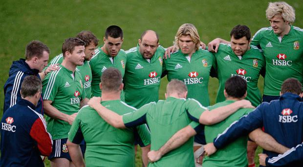Brian O'Driscoll, Lions captain, speaks to his players during the captain's run ahead of their game against Combined Country on Tuesday
