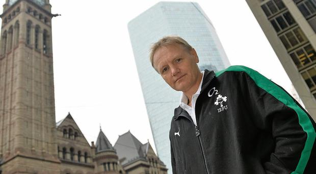 New Ireland head coach Joe Schmidt in front of City Hall in Toronto ahead of their game against Canada on Saturday
