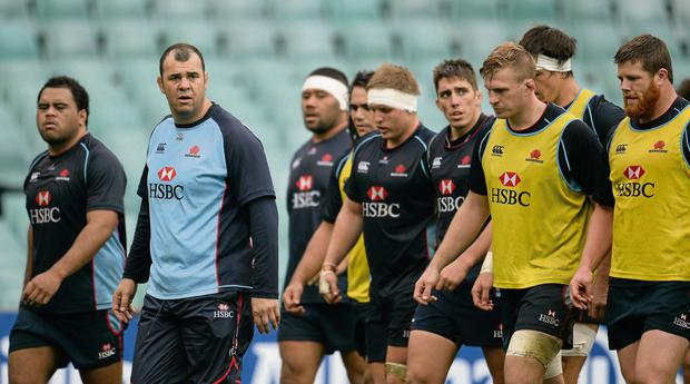 Waratahs head coach Michael Cheika during training Picture credit: Stephen McCarthy / SPORTSFILE