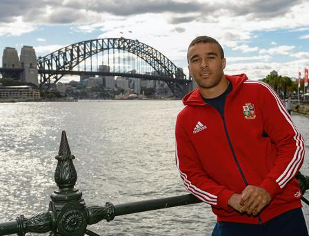 Simon Zebo, at Circular Quay with The Sydney Harbour Bridge in the background, is looking forward to making his debut for the Lions against NSW Waratahs today