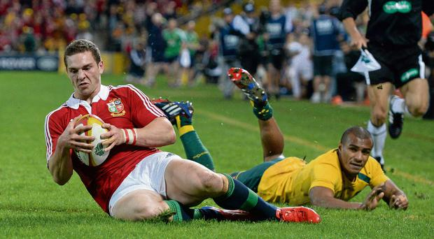 George North crosses for the Lions' opening try.