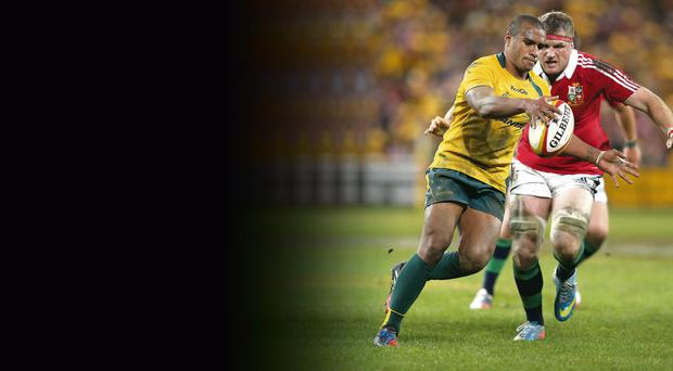 Jamie Heaslip chases down Australia's Will Genia during the Lions' opening test victory in Brisbane on Saturday