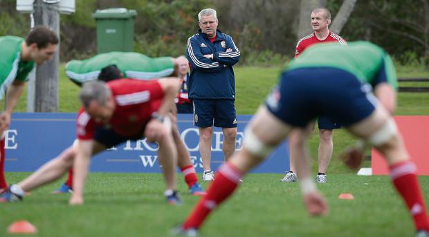 Lions head coach Warren Gatland looks on during training in Noosa prior to today's crucial third Test