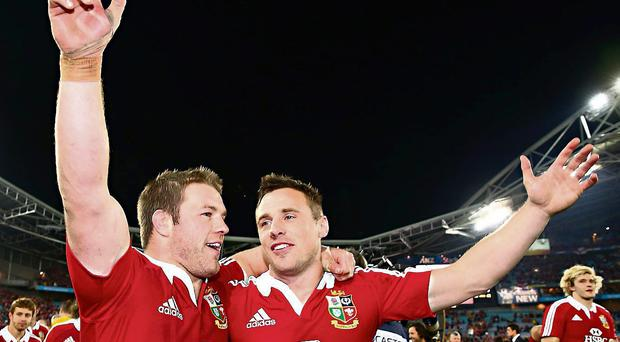 Sean O'Brien and Tommy Bowe celebrate in Sydney