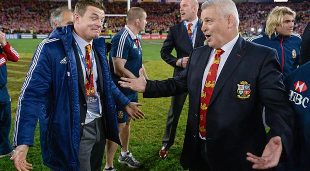 Warren Gatland and Brian O'Driscoll following the third Lions Test