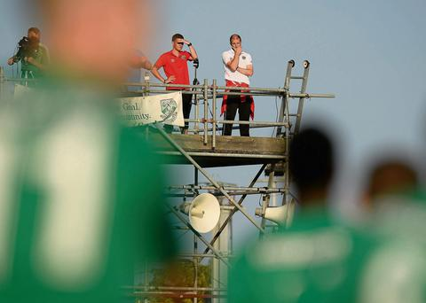 Bohemians caretaker boss Owen Heary is forced to watch his first game at the helm from the TV gantry at the Carlisle Grounds against Bray due to his suspension
