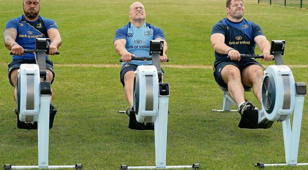 Leinster's Leo Auva'a, Richardt Strauss and Mike Ross show the strain as they go through their paces during pre-season at UCD