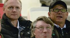 Ireland head coach Joe Schmidt and assistant coach Les Kiss at the Ulster v Leinster pre-season friendly last month