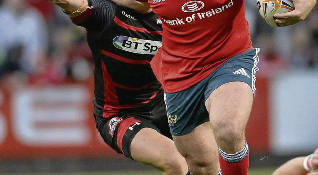 James Cronin on the charge for Munster against Edinburgh at Musgrave Park on Saturday