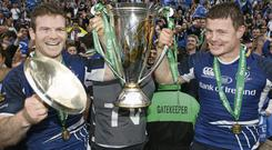 Gordon D'Arcy and Brian O'Driscol celebrate Leinster's Heineken Cup triumph in 2012 competition