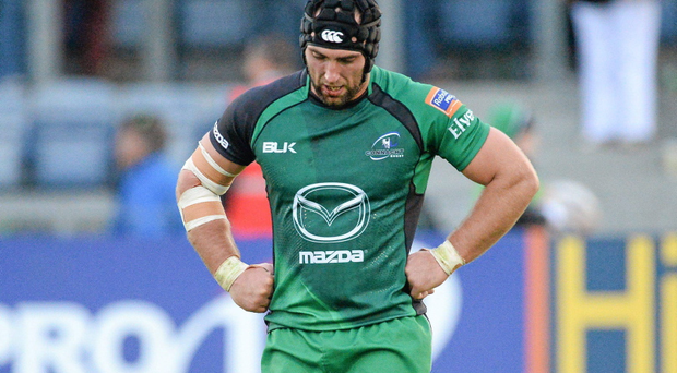 A dejected John Muldoon, Connacht, at the end of the game