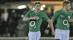The battle between the Munster and Leinster out-halves Ian Keatley and Ian Madigan – seen here in action together for the Wolfhounds in January – will be crucial to the outcome of tonight's Pro 12 clash