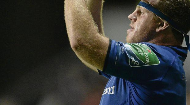 Leinster's Sean Cronin prepares to throw the ball into the line-out on Saturday