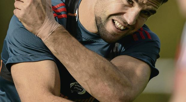 Conor Murray goes through his paces during the Munster training session in Cork yesterday