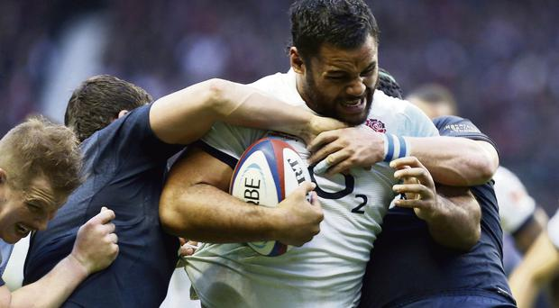 England's Billy Vunipola tries to break through the Argentina defence at Twickenham yesterday