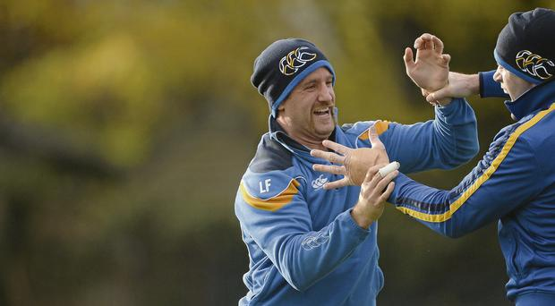 Leinster's Luke Fitzgerald, left, and Shane Jennings in training ahead of the Pro 12 game against Scarlets