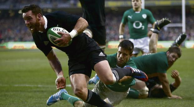 Ryan Crotty of the All Blacks scores the match winning try during the match between Ireland and the All Blacks