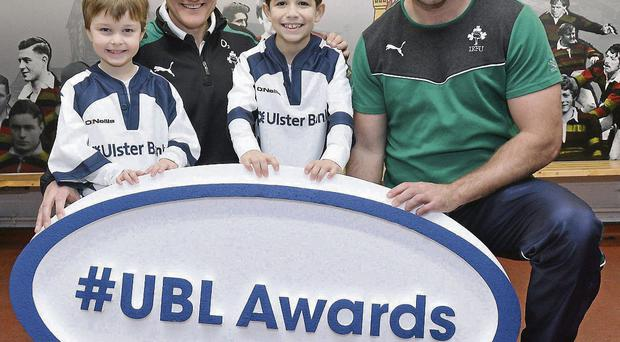 Joe Schmidt and Fergus McFadden are joined by Brendan Mullins (6) and Mark Casey (9) at Lansdowne FC to announce the return of the Ulster Bank League Awards.