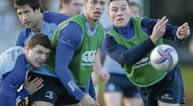 Leinster players Brian O'Driscoll, Kevin McLaughlin, Zane Kirchner and John Cooney during squad training ahead of their Heineken Cup match against Northampton on Saturday