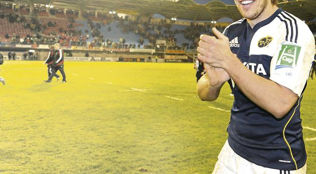 Donncha O'Callaghan leaves the Stade Aime Giral after Munster's victory against Perpignan in 2009