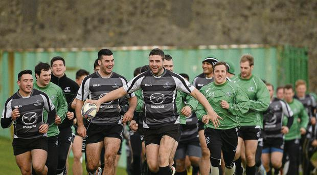 Connacht players in jovial mood at training ahead of renewing rivalry with Toulouse at the Sportsground in Galway today SPORTSFILE