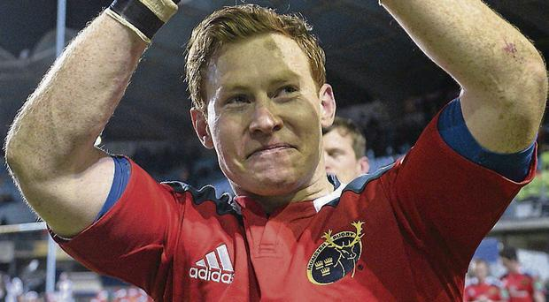 Cathal Sheridan salutes the Munster fans at the Stade Aimé Giral