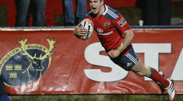 Ronan O'Mahony goes over for Munster's try