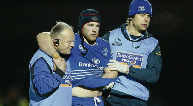 Sean O'Brien is assisted from the RDS pitch after dislocating his shoulder