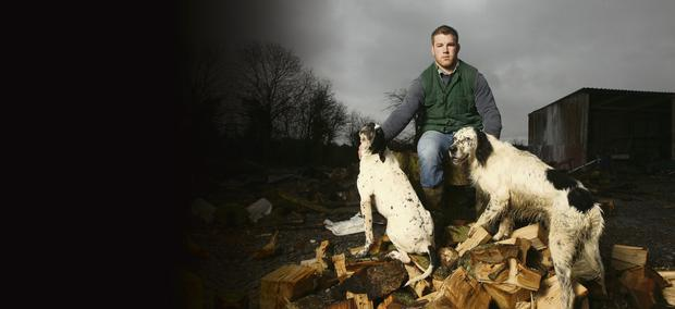 Sean O'Brien, pictured at his farm in Tullow, has committed his future to Leinster despite huge interest from French clubs