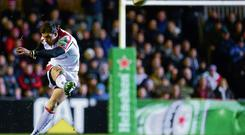Ulster's Ruan Pienaar converts a penalty during his side's victory over Leicester at Welford Road last night