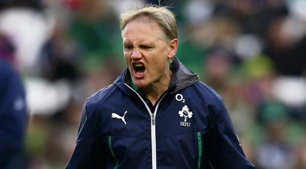 Joe Schmidt shouts instructions to his players at the Aviva Stadium.