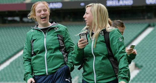 Ireland's Fiona Hayes (left) and Stacey Lea Kennedy share a joke during the