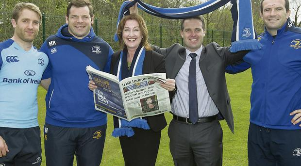 Pictured are (centre) Editor of the Irish Independent Claire O'Grady, (fom left) Rugby stars Luke Fitzgerald, Mike Ross and Shane Jennings, Geoff Lyons, group marketing director of Independent newspapers