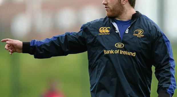 Sean O'Brien in action during Leinster training in UCD Ramsey Cardy / SPORTSFILE