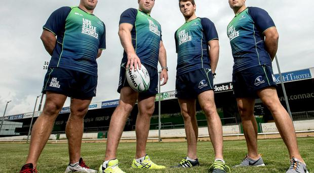 Connacht's Nathan White, Michael Swift, Jake Heenan and Ronan Loughney sporting the new Life Style Sports jersey