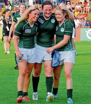 Ashleigh Baxter, Ailis Egan and Vicky McGinn celebrate their historic win over New Zealand