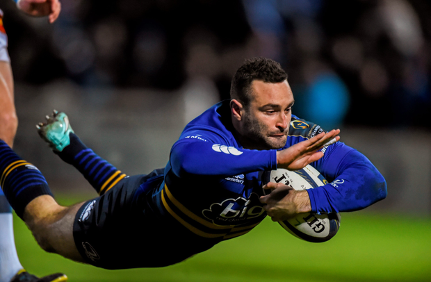 Dave Kearney dives over for Leinster's opening try against Castres at the RDS yesterday