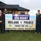 Rory Moloney, Sean Walsh (Electric Ireland), Cian Romaine, Stephen McVeigh, Buccaneers President Ray Fagan & Nigel Carolan (Ireland U-20s Coach) at Dubarry Park, Athlone