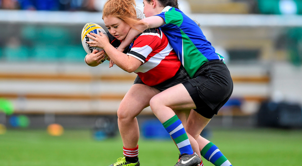 Action from the half-time mini games between Wicklow RFC and Gorey RFC during the pre-season friendly between Leinster and Ulster at Tallaght last year
